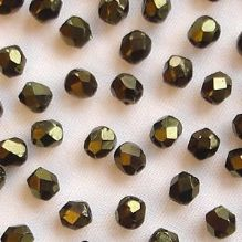 3mm Fire Polished, Metallic Green - 50